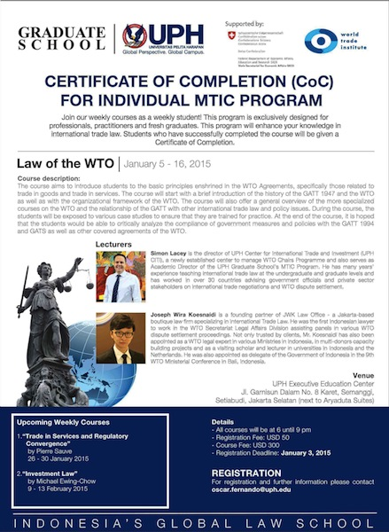 UPH MTIC Program 2015 - Law of WTO